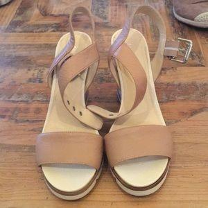 Tan open toe wedges